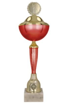 Puchar metalowy czerwono-złoty WITO RD  z przykrywką 9213