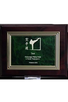 Dyplom drewniany z grawerem na ozdobnej blaszce