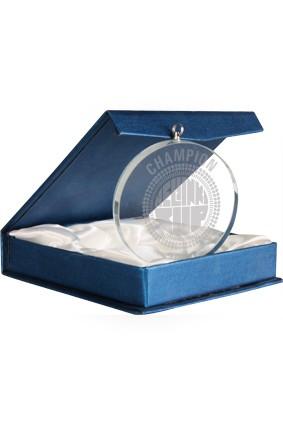 Medal szklany w etui – 70 mm  grawerem