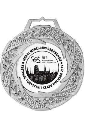 Medal srebrny z grawerem wypełnionym farbą