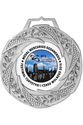 Medal srebrny z nadrukiem i grawerem wypełnionym farbą