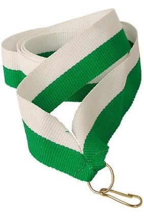 Wstążka 22 mm – biało-zielona