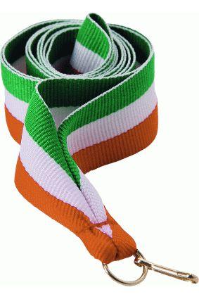 Wstążka 11 mm – zielono-biało-pomarańczowa
